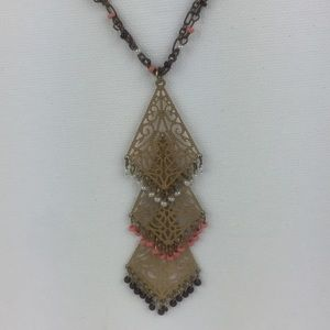 Gold tone Double chain chandelier fashion necklace